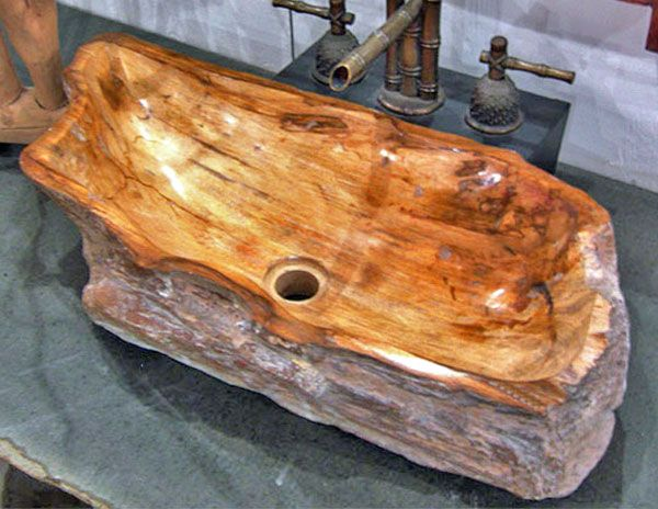 Petrified Wood Sink with Brown Wood Grains Impact Imports - Boise & Philadelphia: reclaimed teak & boat wood furniture, garden stone, architectural elements, Buddha statues, onyx, marble & petrified wood vessel sinks, natural edge wood slab tables, tile & more!