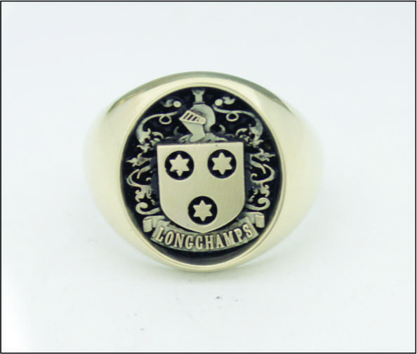 10k yellow gold, family crest ring, antique finish