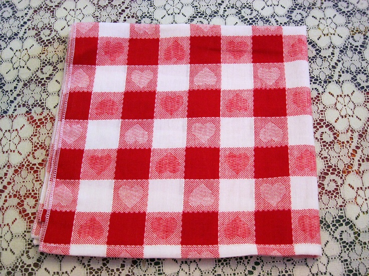 Vintage Red Hearts Woven Check Kitchen Tea Dish Towel Vintage Tea Towels Fabric Sheets