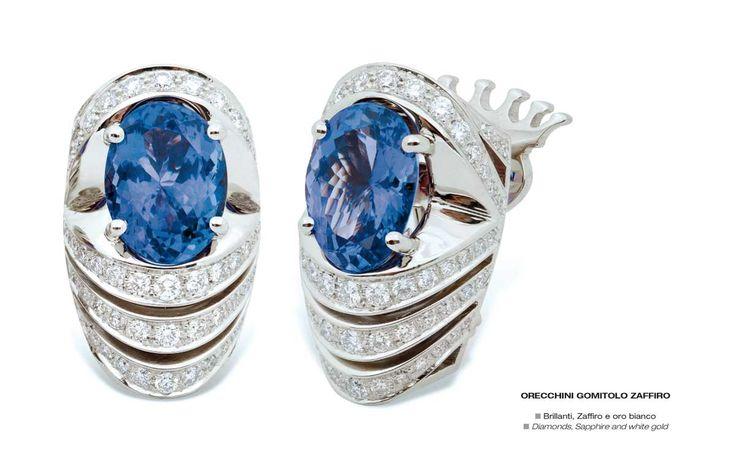 Orecchini Gomitolo Zaffiro - Diamonds, Sapphire and white gold - Brillanti, Zaffiro e oro bianco #jewelry #gioielli #luxury #madeinitaly #classic