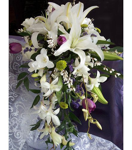 Classic Romantic Pink White Bouquet Lily Tulip Wedding Flowers Photos & Pictures - WeddingWire.com