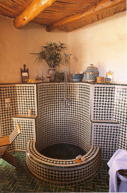 Sunken Floor For Small Tub While The Kids Are Still Little Moroccan  Interior Design Style Bathroom