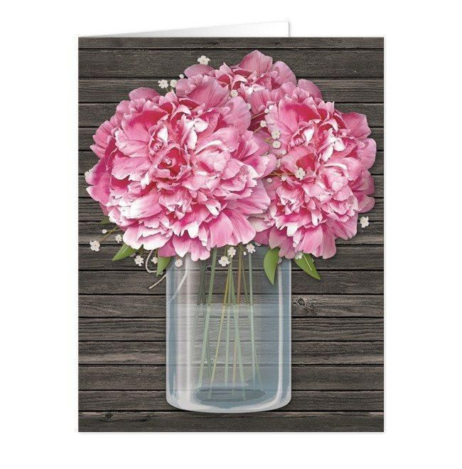 Thank you, Kristen in New York, for your purchase of these Rustic Pink Peony Wood Mason Jar Note Cards. (6/26/2017)
