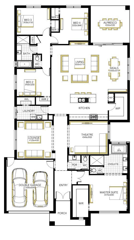 Floorplan - kitchen, living, meals, theatre, main bed etc.