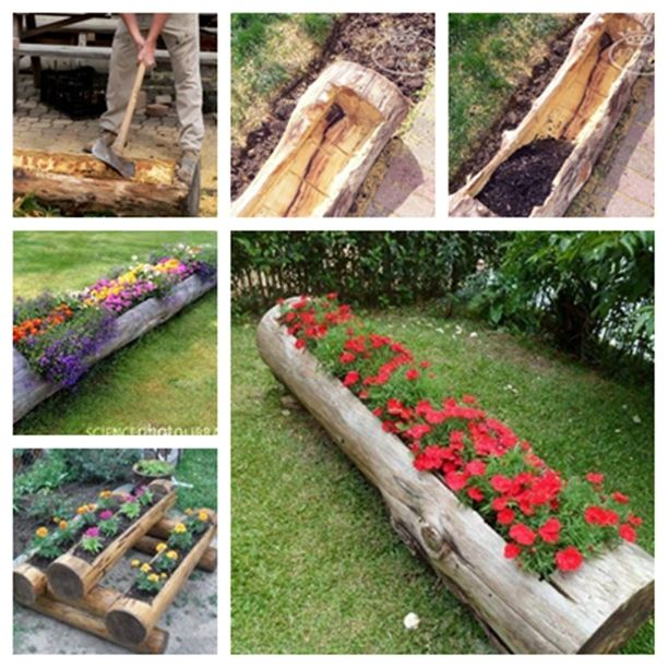 DIY Old Log Flower Planters for a Colorful Garden