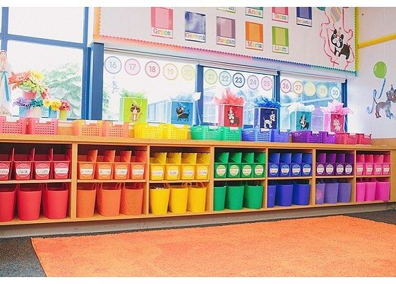 Have you tried color coding your classroom? I assigned a color to each student and all of their classroom supplies including their math notebook, writing folder, and math tool kit were easy to find and manage throughout the school year. Bins, baskets, and storage containers are from @romanoffproducts. #classroommanagement #schoolgirlstyle #colorcoding #classroomorganization #confetticrush #celebratelearning #schoolgirlstyledecor #teachersofinstagram #teachersfollowteachers #kindergarten