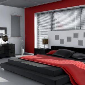 A wall of bamboo shades and Shoji screen ceiling effect lend warmth and  textural interest to this red and black bedroom. The space also feels as if  it has ...