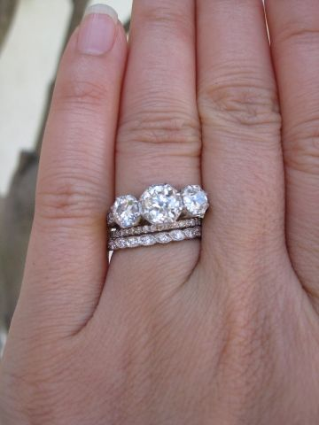 Old European Cut Three Stone Ring By 23rd Street Jewelers