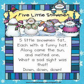 Mrs. Albanese's Kindergarten Class: 5 Little Snowmen - A Winter Poem {Freebie}