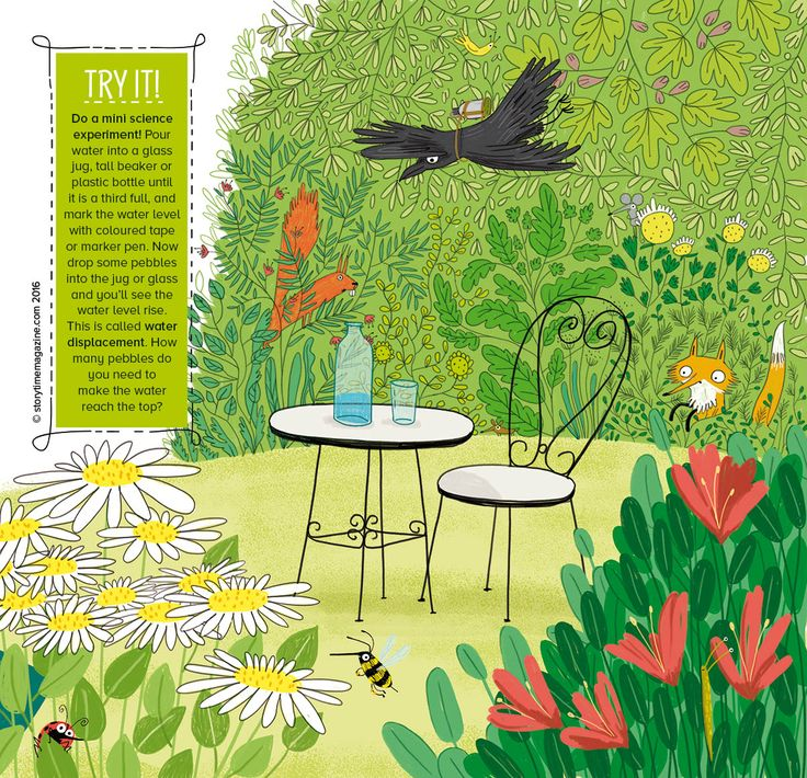 Do a mini science experiment with our Crow and the Pitcher fable. Get hold of Storytime Issue 19 to find out more. Wonderful illustrations by  Erica Salcedo (http://www.ericasalcedo.com) ~ STORYTIMEMAGAZINE.COM