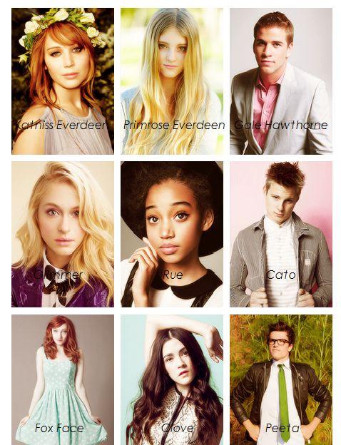 Katniss Everdeen, Primrose Everdeen, Gale Hawthorne, Glimmer, Rue, Cato, Fox Face, Clove, and Peeta Mellark