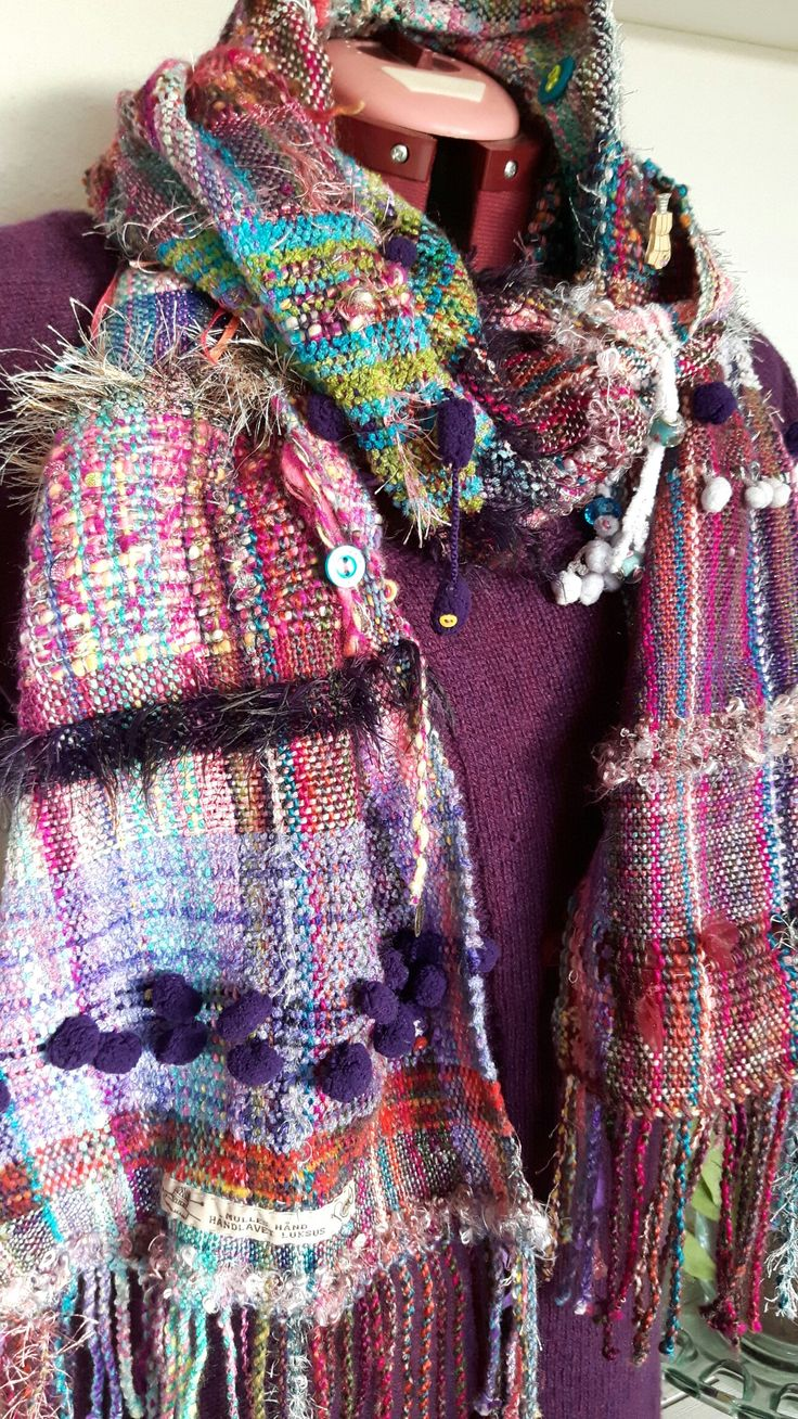 Art weaving. Large scarf decorated with buttons, beads and other nice things. Handwoven on a rigid heddle loom.