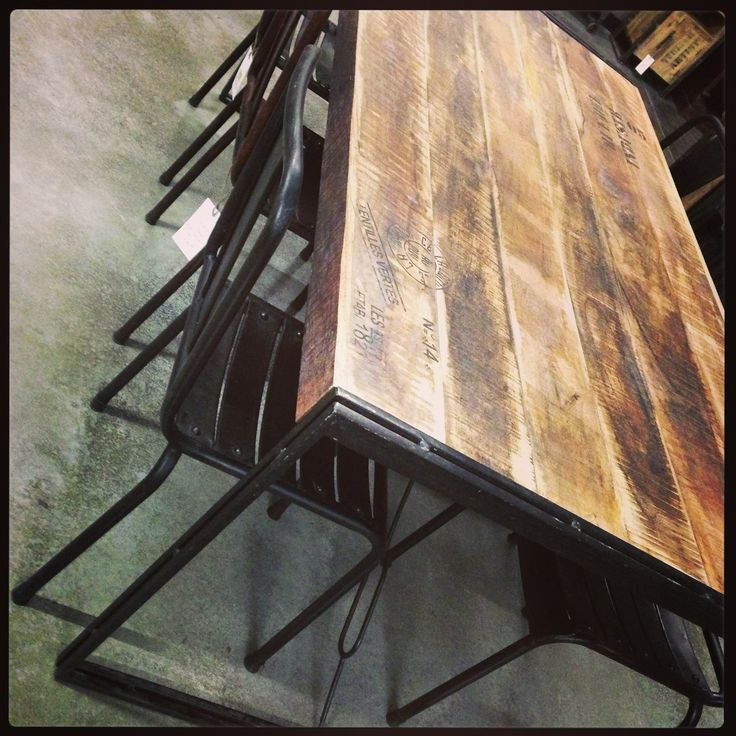 French Script Dining Table Industrial Style Wood And Metal With Metal Rivet
