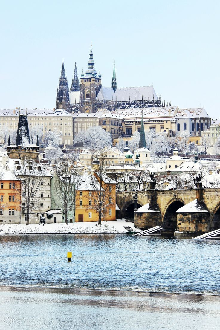 Romantic Snowy Prague gothic Castle with the Charles Bridge, Czech Republic. I want to go back!
