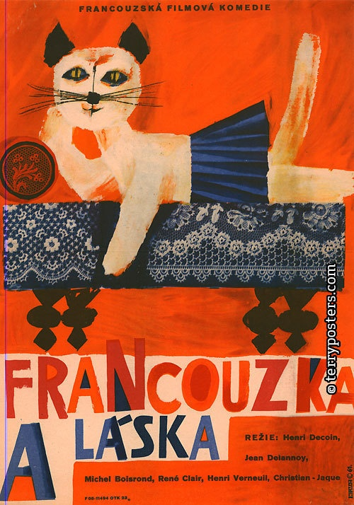 LOVE AND THE FRENCHWOMAN (La Française et l'amour) by Henri Decoin (France) - Czech film poster by Jiří Hilmar, 1961