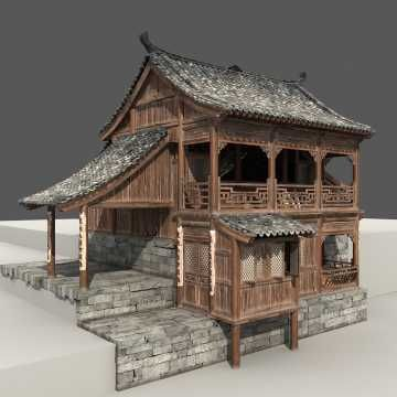 Chinese Old Wooden House 3d model- CGStudio