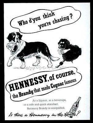 1950-St-Saint-Bernard-dog-and-barrel-poodle-art-Hennessy-brandy-cognac-ad