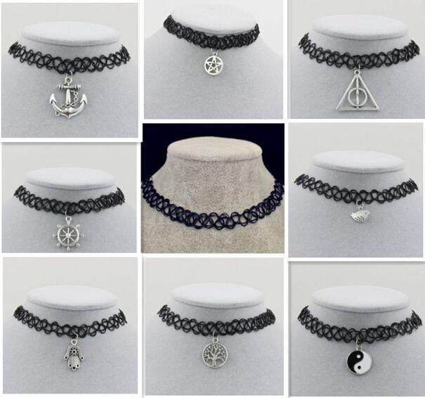 Angelschnur weben tattoo choker halskette geschenk für frauen lovers schwarz chokerhalsketten vintage Harz Silber vergoldet Anhänger