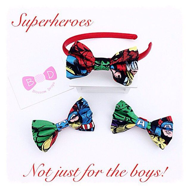 Who said Superheroes were just for boys!! This Marvel fabric works perfectly for bows attached to clips and alice bands #girls#hairaccessories#handmade#bows# #marvel#aliceband #supwrheroes