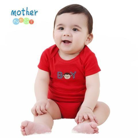 4226f44c8 Summer 2018 Baby Romper Red Monkey Embroidered Baby Boy Clothes Newborn  Baby Romper Short Sleeve Underwear Cotton Costume