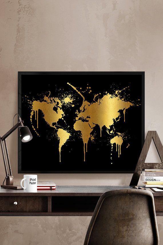 world map print, detail world map, world map with faux gold, world map poster, world map, art print, home decor, wall decor, iPrintPoster
