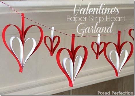 Valentine's Day Paper Strip Heart Garland