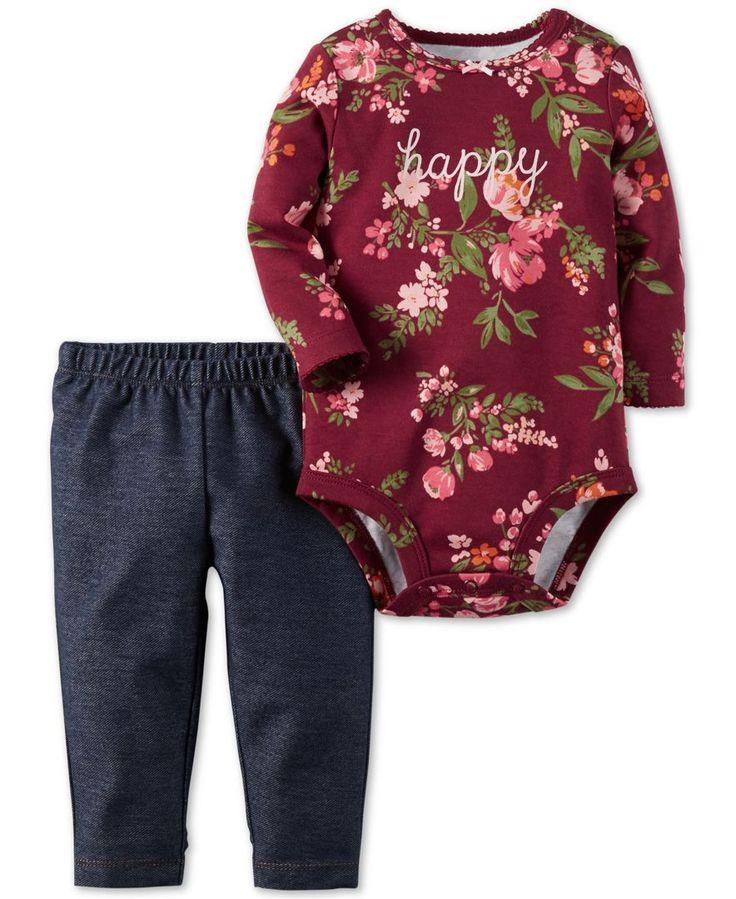 Carter's Baby Girls' 2-Pc. Long-Sleeve Happy Bodysuit & Denim Leggings Set