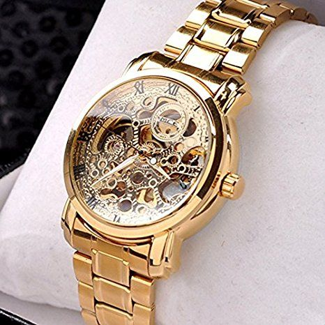 KitMax (TM) Rose Gold Plated Stainless Steel Skeleton Mechanical Business Watch