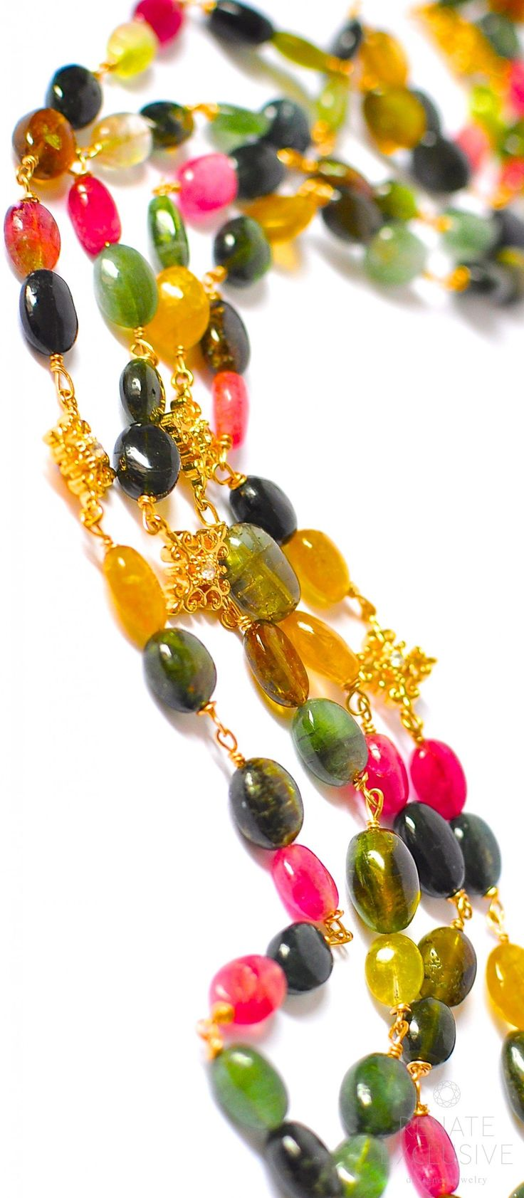 Long Multi Tourmaline Necklace with Pendants