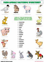 Farm Animals Vocabulary Matching Exercise ESL Worksheet