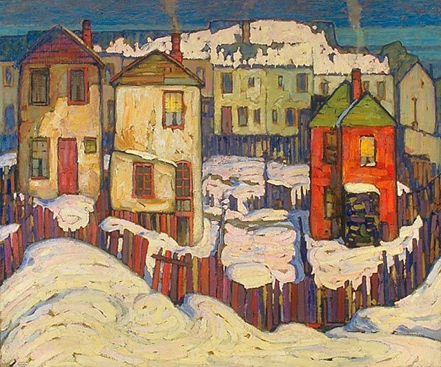 Lawren Harris, Toronto Houses, c.1919, oil on beaverboard, National Gallery of Canada, Ottawa.