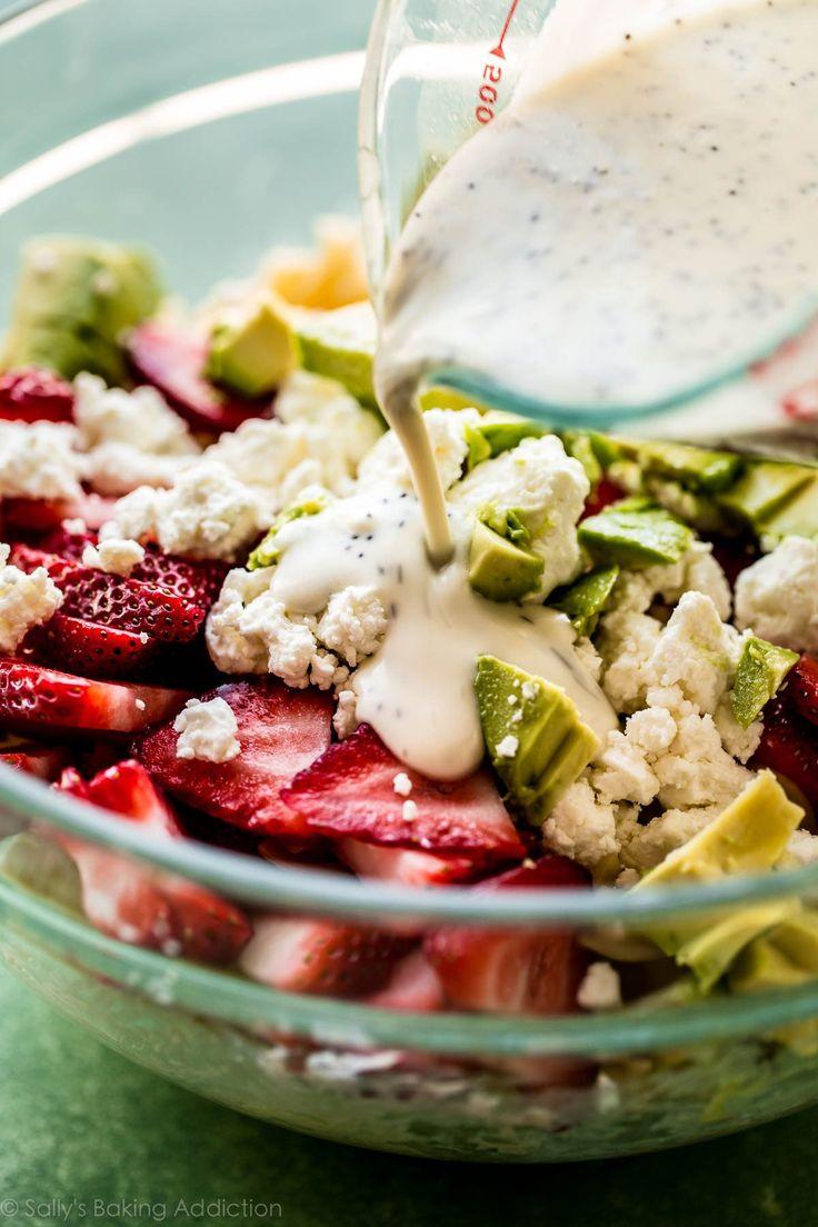 Homemade creamy poppy seed dressing made with Greek yogurt on sallysbakingaddiction.com
