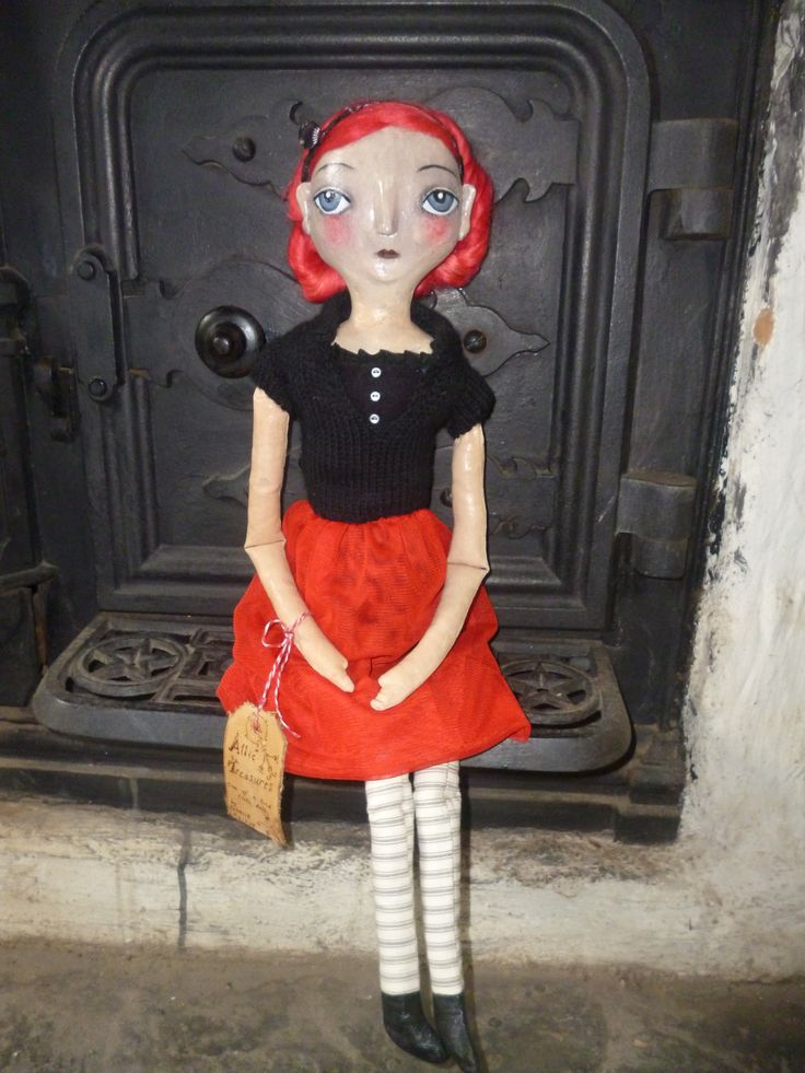 cloth doll with paper clay features at Mitchell's Cottage