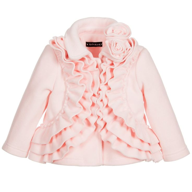 Kate Mack & Biscotti Girls Pink Fleece Coat with Ruffles at Childrensalon.com