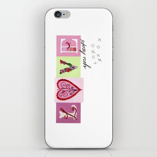 LOVE letters - LOVE you heaps iPhone & iPod Skin by Daniela Glassop Illustration And Design | Society6