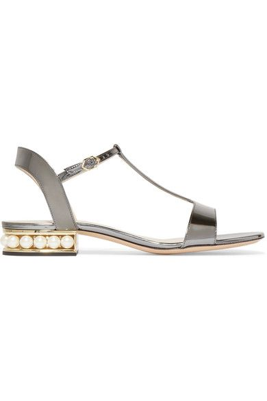 Nicholas Kirkwood - Casati Embellished Metallic Patent-leather Sandals - Silver - IT39.5