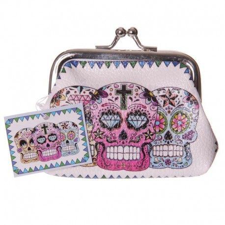 Porte monnaie - Crânes Jour des Morts mexicain