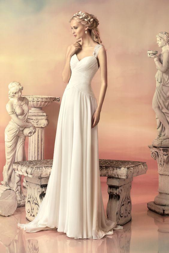 Channel your inner Greek Goddess in this line of dresses!  #bridal #weddingdress #grecianbride #grecianinspired #bride #weddinggown #modernbride #classicbride #elegant