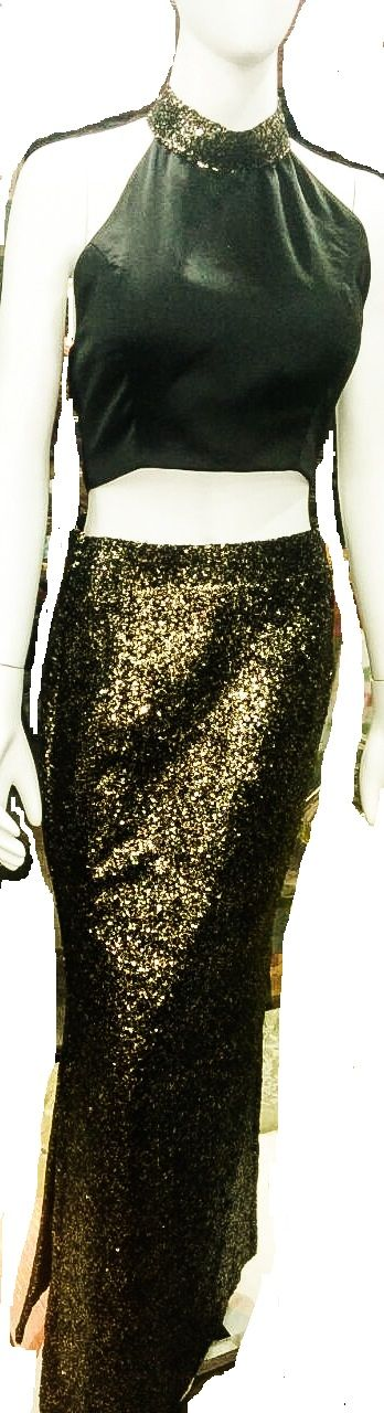 classy black and gold sequence high waisted sequence skirt, along with backless choli..