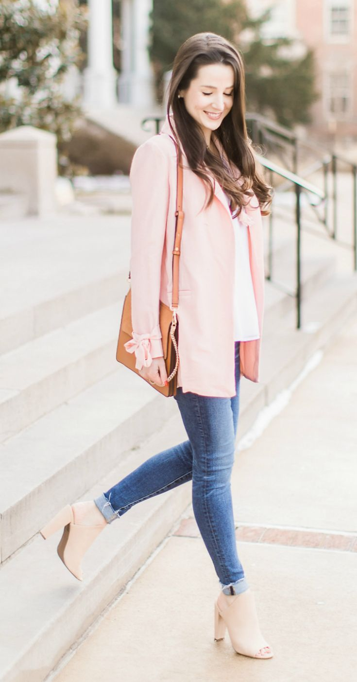 5 must-know style tips for dressing well when you work from home | What to wear with a light pink blazer | What to wear with a blazer | Casual office outfit idea | Light pink blazer with bow tied cuffs, white chiffon camisole, AG the legging skinny ankle jeans, Christian Siriano nude peep toe mules, Chloe Faye dupe bag | Dress for Success: What to Wear When You Work from Home by southern fashion blogger Stephanie Ziajka from Diary of a Debutante