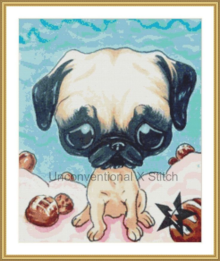 Pug  dog cross stitch pattern - Licensed Sugar Fueled by UnconventionalX on Etsy