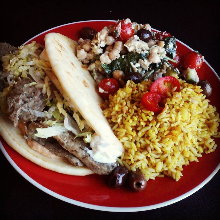 #lootcrate #cleverfoodies #mediterranean food today @lootcrate warehouse. Serving up Lamb Gyros with Tzitziki and Red Pepper Hummus, Saffron Rice Pilaf, and an amazing Chickpea Greek Salad with Feta, tomatoes, couscous, artichokes, and spinach. #yum