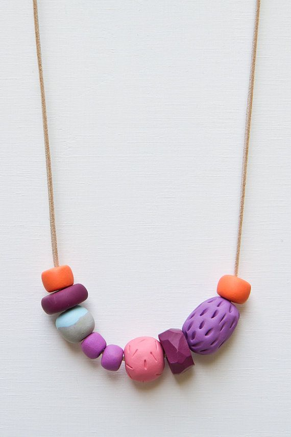 HANDMADE CLAY BEAD NECKLACE AVAILABLE AT JESSINOONAN.ETSY.COM