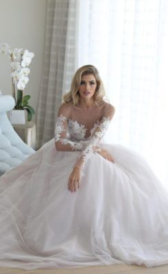 Floral Lace Embroidered Long-Sleeve Illusion Bodice Wedding Dress
