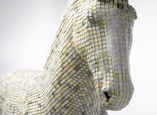 Artist Babis Panagiotidis conceived 'Hedonism(y) Trojaner', an installation of the ancient greek Trojan Horse of Troy, fabricated from over 18,000 recycled computer keys