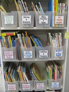 Storage system for Read Alouds. I love congruent containers and labels. :) Jodi from The Clutter-Free Classroom