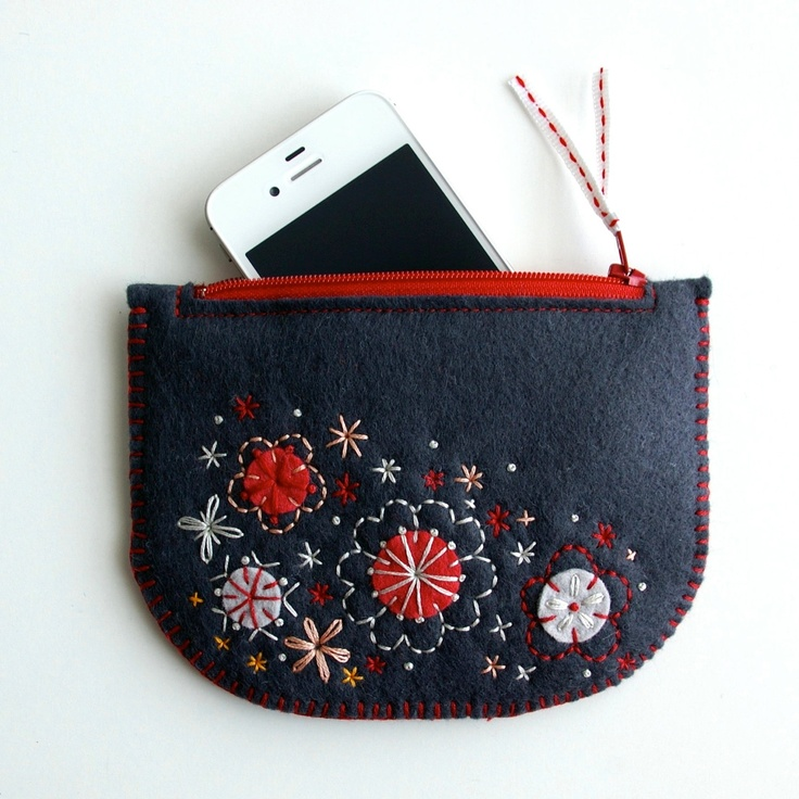 Wool Felt Coin Purse or iPhone Cozy // Hand Embroidered // Sakura // LoftFullOfGoodies. $28.00, via Etsy.