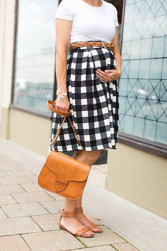 belt, buffalo print, flat sandals, midi skirt, saddle bag, skirt, white tee
