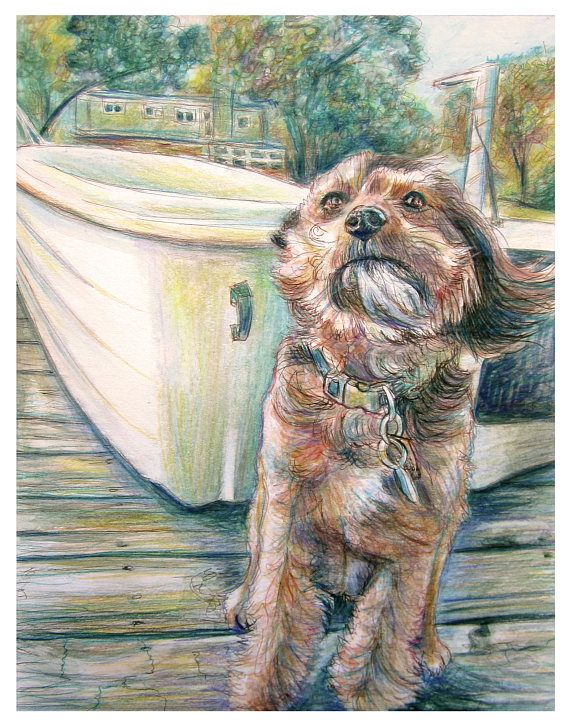 Custom Mixed Media Portrait Painting, watercolor, colored pencil, ink, Dog and boat, pet portrait, In memory portrait, Free Shipping