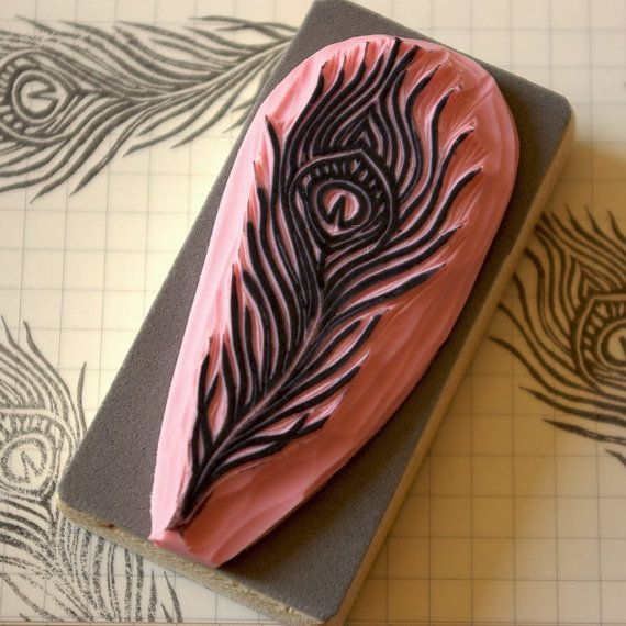 Rubber stamp of a peacock feather  hand carved by CassaStamps, $13.00